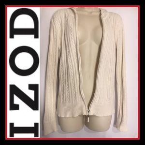 IZOD Cream Cable-Knit zip up Hoodie Sweater